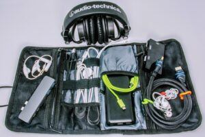 cords and accessories for a portable workspace packed up safely in a protective bag