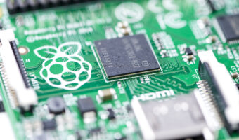 close up of Raspberry Pi computer board