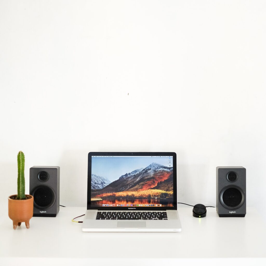 laptop connected to speakers sitting on desk with small cactus plant