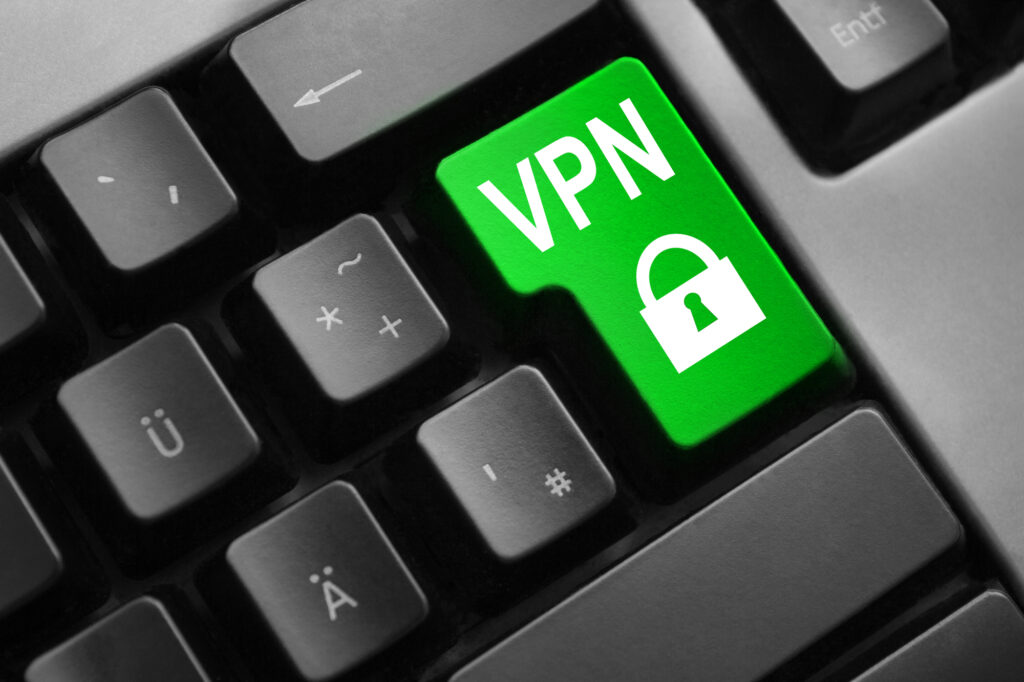 keyboard green enter button vpn lock symbol