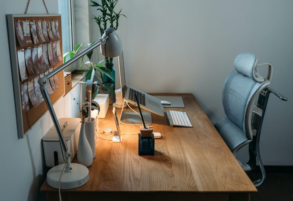 shot of an ergonomic at home work space