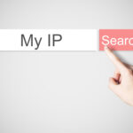 """finger pushing red web search browser button for search term """"my ip"""""""