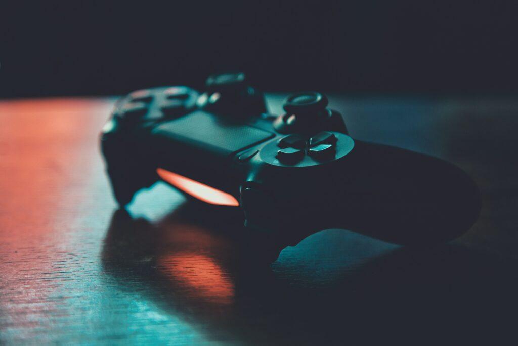 gaming controller sitting on desk