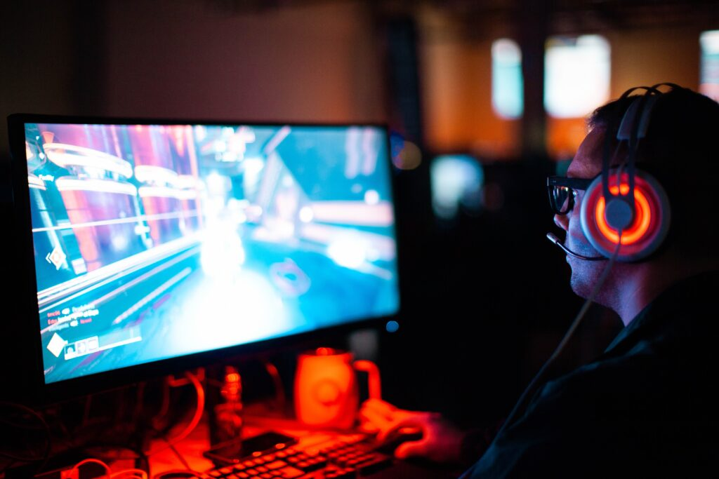 person playing a video game on a computer
