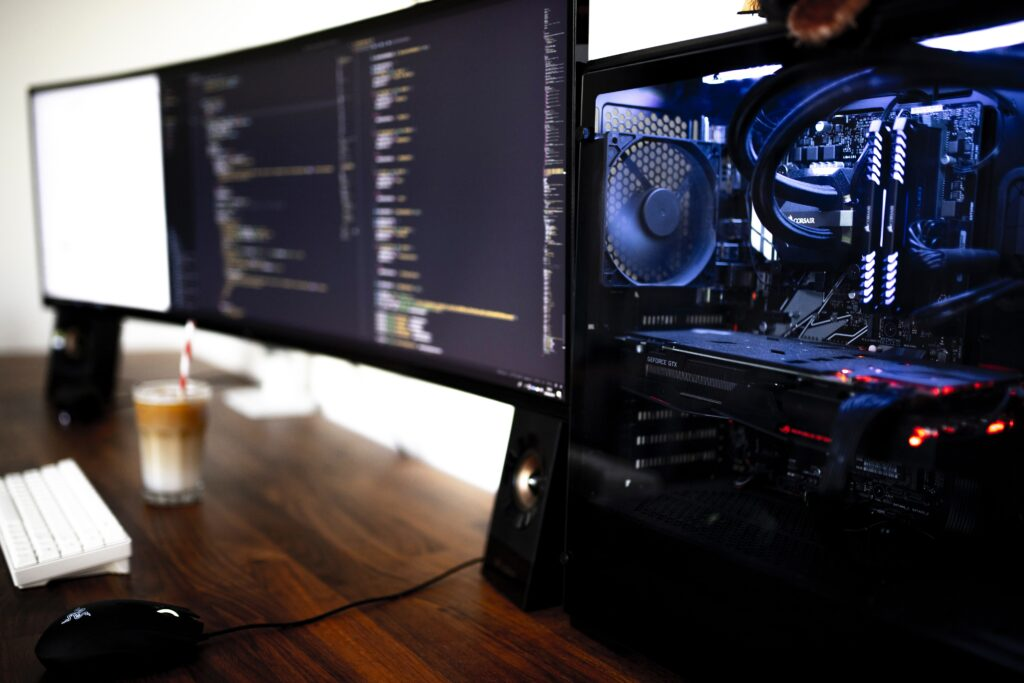 Curved monitor gaming set up