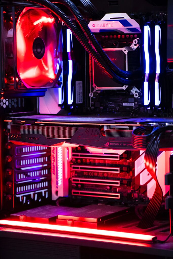 Close up of a gaming computer tower