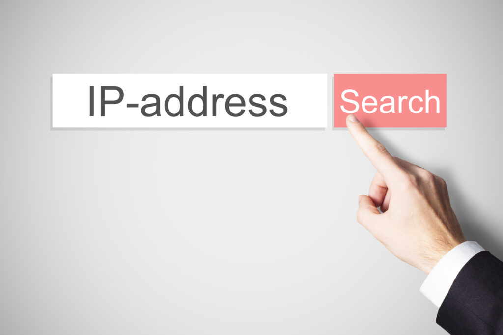 """Finger over search button getting ready to search """"IP-address"""""""