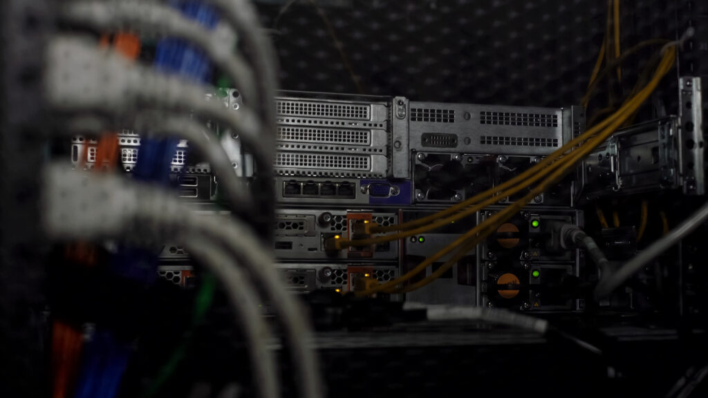 Shot of database server