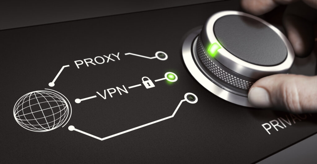 Person twisting a dial with a VPN setting and a Proxy setting