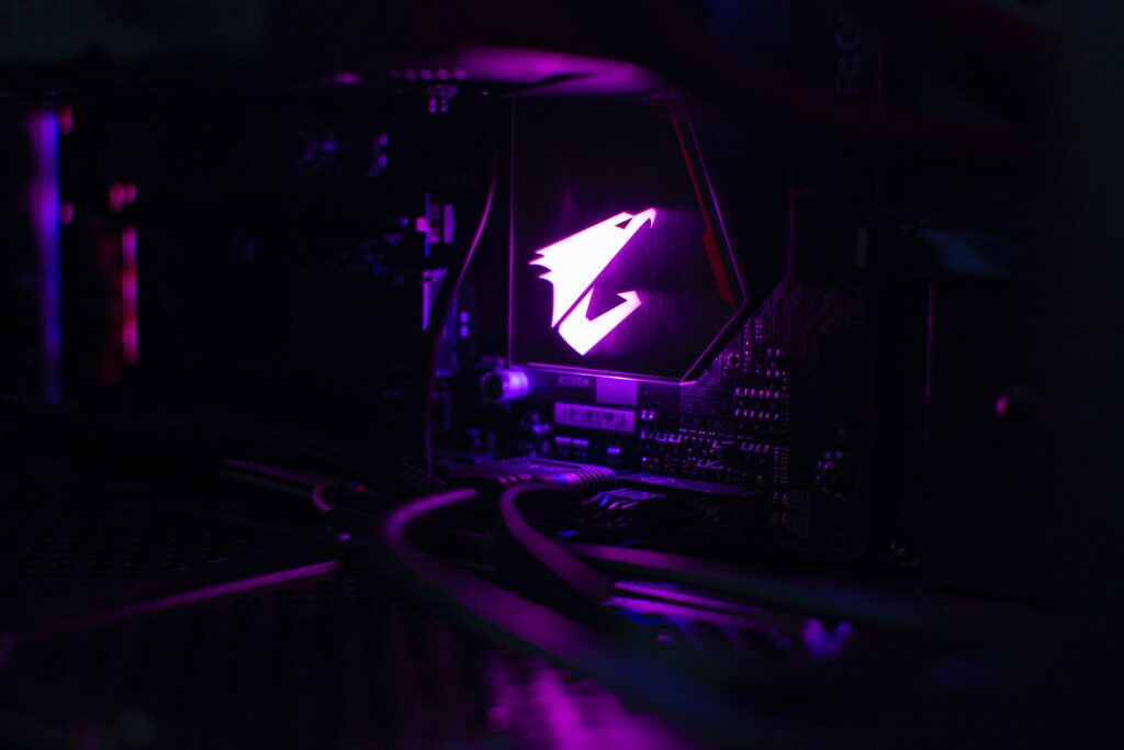 AORUS Computer logo lit up in purple